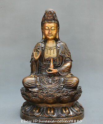 Collection CHINESE BUDDHISM HANDWORK OLD COPPER Net bottle Guanyin statues