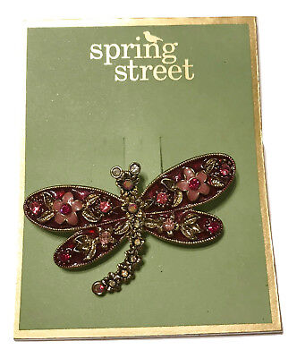 Spring Street Bejeweled Pink Fuchsia Dragonfly Brooch
