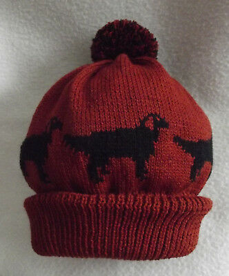 GORDON SETTER dog design on NEW knitted RUST BROWN ADULT SIZE POMPOM BOBBLE hat