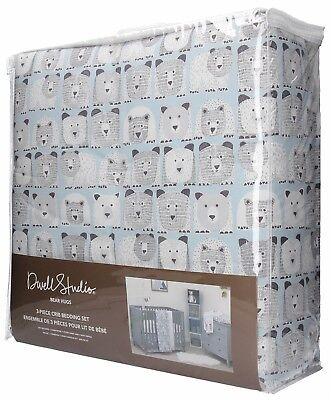 (Dwell Studio Bear Hugs 3 Piece Nursery Crib Bedding Set, Blue, Gray, White)