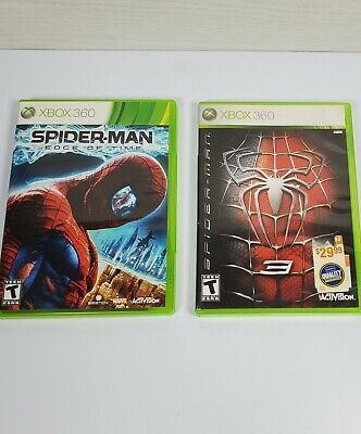 Spiderman Xbox 360 Lot- Edge of Time with Manual and Spiderman 3
