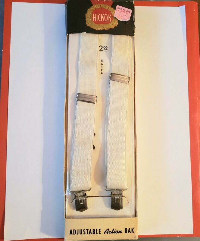VINTAGE NEW IN BOX HICKOK WHITE IVORY ADJUSTABLE ACTION BAK SUSPENDERS WEDDING