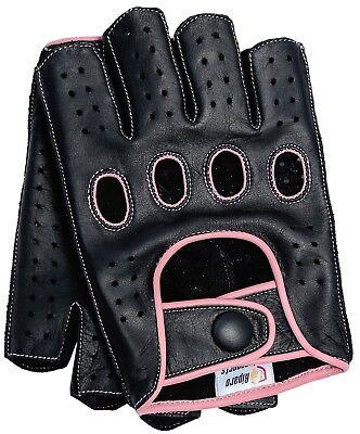 Riparo Women Leather Reverse Stitched Fingerless Half-Finger Gloves - Black/Pink