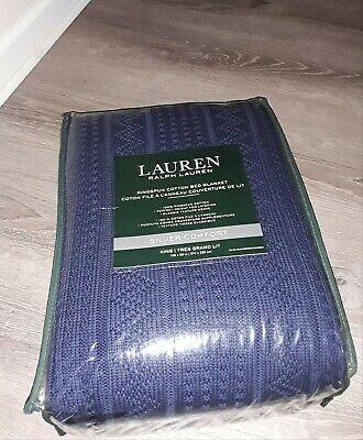 Ralph Lauren King Silver Comfort Blanket 100% Ringspun Cotton ~ New