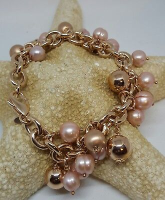 Honora Cultured Freshwater Pearl Rose Bronze Charm Bracelet  QVC