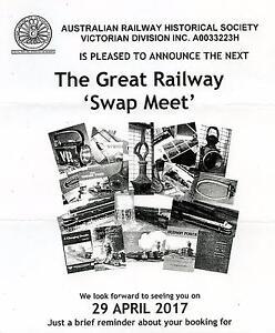 The Great Railway Swap Meet - East Malvern, Sat. 29 April 2017 Glen Iris Boroondara Area Preview