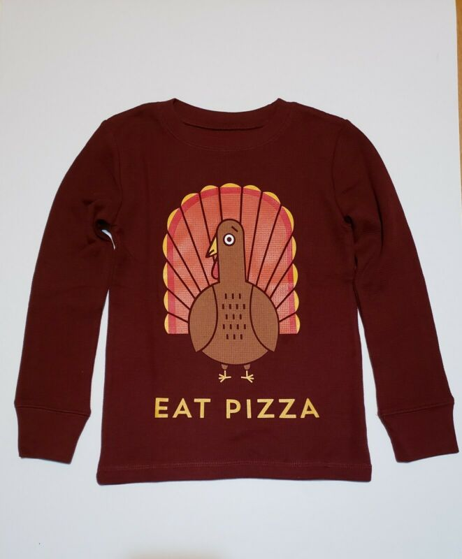 Boys Thanksgiving Turkey Eat Pizza Graphic Tee NWT