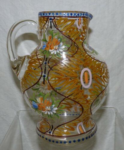 Vintage Old Hand Blown Glass Pitcher Hand Painted Enamel Floral Stiegel Bohemian