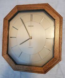 """Vintage Sunbeam octagon Quartz Wood solid oak Case Wall Clock 10"""""""