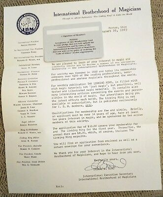 International Brotherhood of Magicians, Invitation to Join, Signed Letter