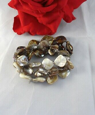 Gorgeous 3 Strand Mother of Pearl  Beaded Stretch   Bracelet   CAT RESCUE Mother Of Pearl Beaded Bracelets