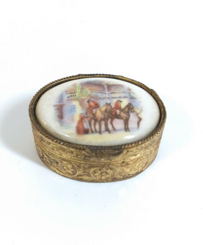 Vintage Gilded Pill Box with Porcelain Top - Inn and Traveler Scene - Ring Box