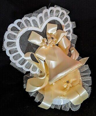 Beautiful Vintage 1950s Wedding Cake Topper Bells Beaded Beautiful JH