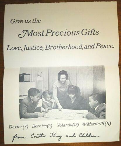 "Coretta Scott King  ~ 1968 Christmas Card ""Love Justice, Brotherhood, and Peace"""