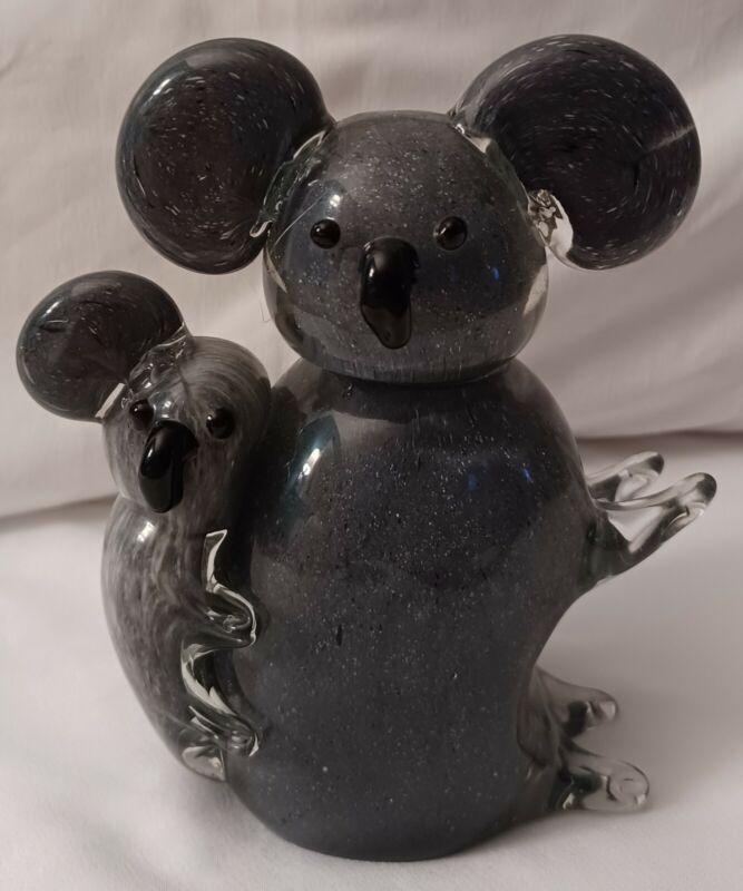 Cute Glass Koala Bears 🐨 Heavy Paperweight 5.5 in x 4.5 in   Free Shipping