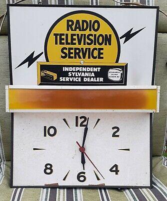 Vintage Radio Television Service TV Repair Sylvania Dealer Clock Light Sign