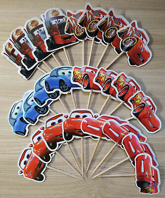 PACK OF 24 CARS CUPCAKE CAKE TOPPER BIRTHDAY PARTY SUPPLIES DECOR (Cars Cupcakes)