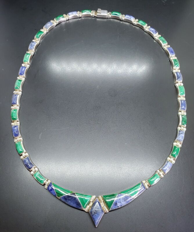Vtg 950 Silver Malachite Lapis Necklace Marked And tested!!