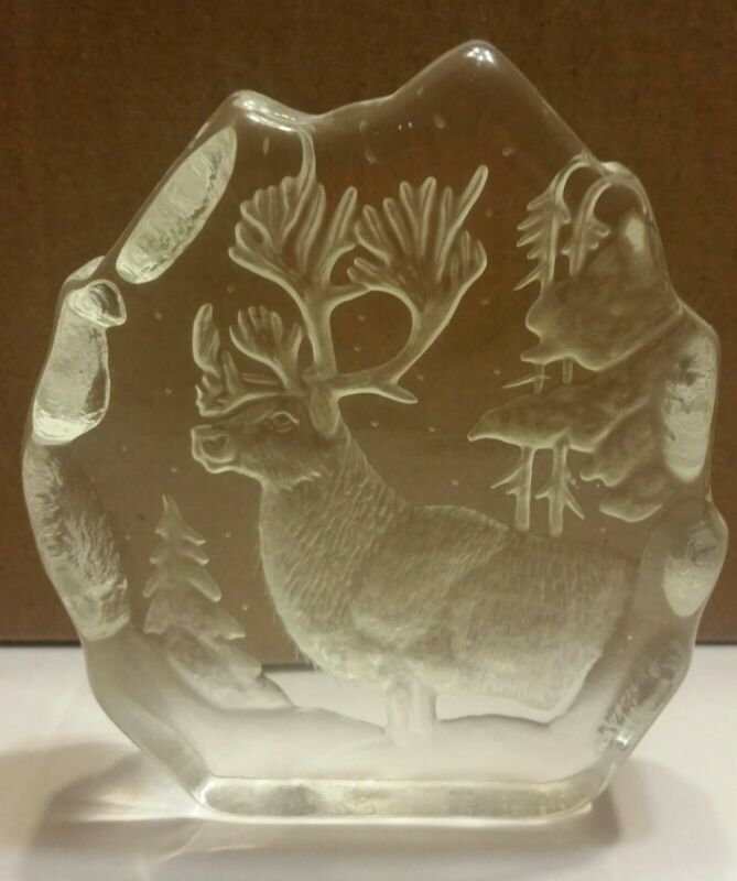 "Handmade in Romania Crystal Paperweight Elk Image by Crystal Sarmis Royal 5"""