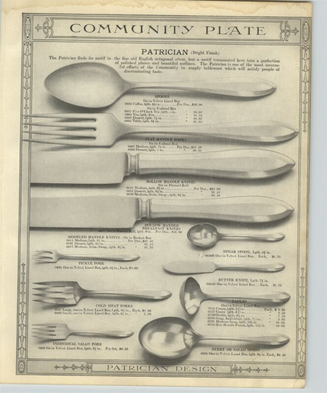 1918 PAPER AD 2 Sided Community Silver Plate Silverware Patrician Pattern