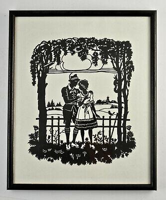 Adorable Original Silhouette, Framed behind Glass 25x29 Cm. (SC33)