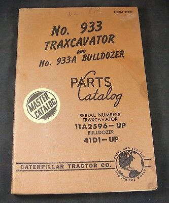 Caterpillar Cat 933 Traxcavator 933a Bulldozer Parts Manual 11a2596-up 41d1-up