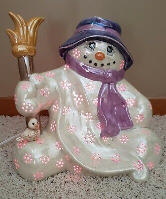 """Ceramic Light Up 12"""" Tall 12"""" Wide Frosty Snowman Christmas"""