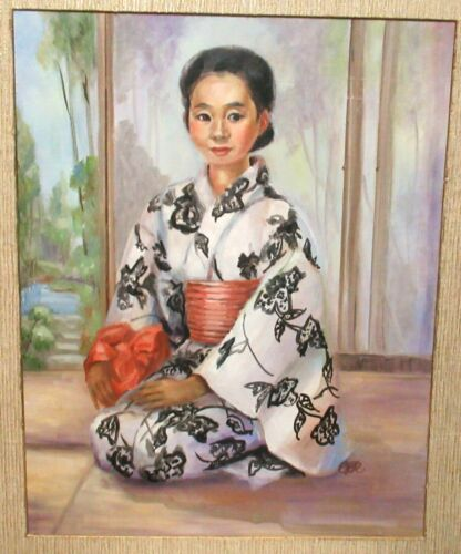 JAPANESE GEISHA WOMAN IN A KIMONO ORIGINAL OIL ON BOARD PAINTING SIGNED