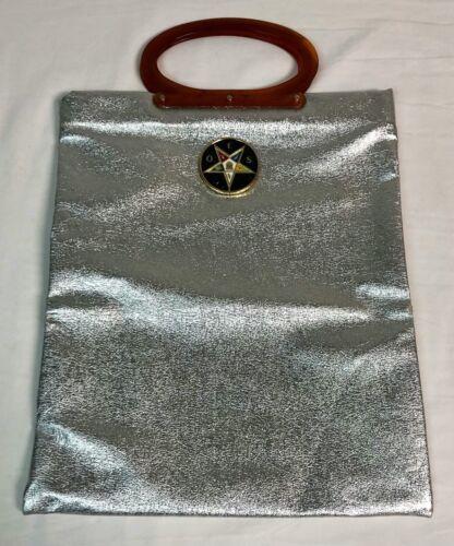 Vintage OES Order of the Easter Star Large Bag Silver Foil Plastic Handle