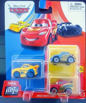 2020 DISNEY PIXAR CARS METAL MINI RACERS DINOCO WRAPS 3 PK w/ SALLY, LIGHTNING +