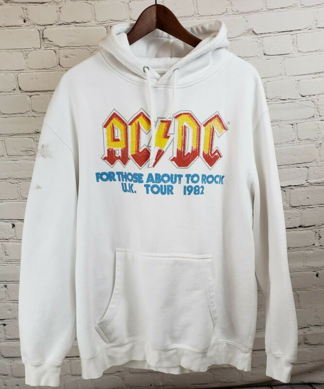Mens XL AC/DC Hoodie Vintage Style 1981 Tour White Offical those about to rock