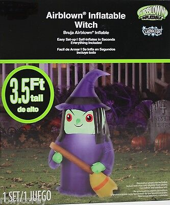 Halloween Gemmy 3.5 ft Light Up Purple Green Witch Airblown Inflatable NIB