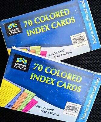 Homeschool Index Cards Pastel Colors 3 X 5 Make Own Flashcards Art Craft 2 Packs