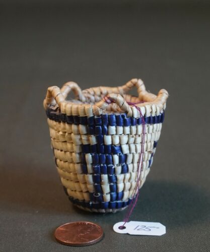 Fine Native American Fully Imbricated Basket 4 Human Figures by Elsie Thomas