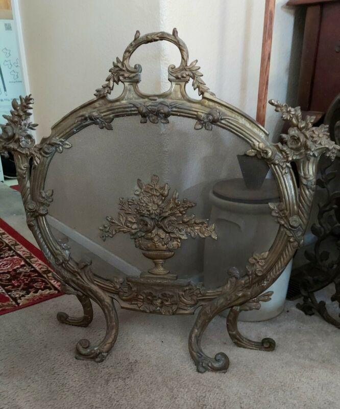 SALE! Was $2100 Antique French Louis XV Heavy Bronze Ornate Rococo Fire Screen