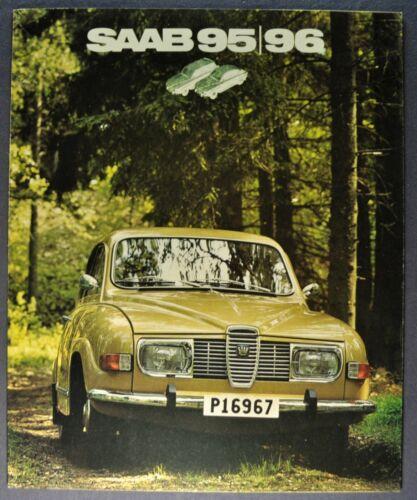 1972 Saab Catalog Brochure 96 Sedan 95 Wagon Swedish Text Excellent Original 72
