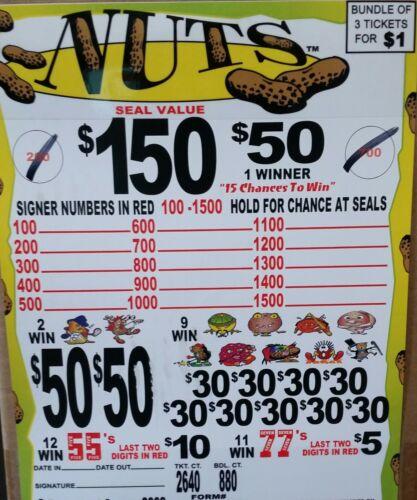 "$135 PROFIT 880 BUNDLE COUNT, 3-FOLD $1 JAR TICKET ""NUTS"" $150 & $50 SEAL WINNER"
