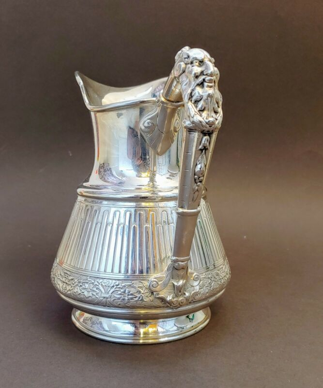 RARE REED & BARTON Silver Plate DIONYSUS Gothic Devils Face Ewer Bacchus Pitcher