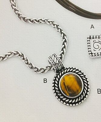 Plated Tigers Eye (Premier Designs Lynx antiqued silver plated genuine tiger's eye stone necklace )