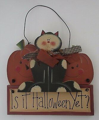 bb IS IT HALLOWEEN YET black cat wood door wall hanging decoration pumpkin