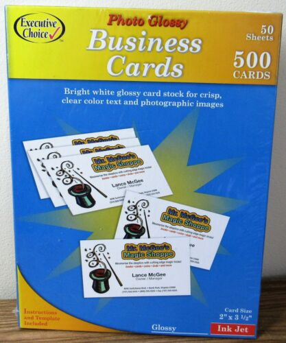 Photo Glossy Business Cards 50 Sheets 500 Cards White Inkjet 637495