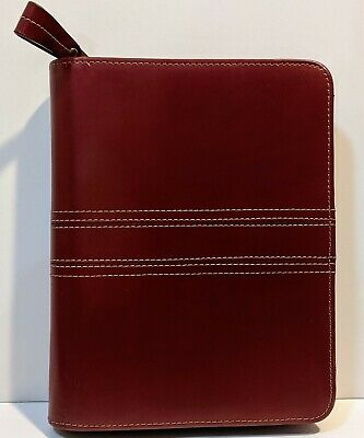 1 Rings Red Genuine Leather Franklin Covey Planner Binder Compact 8.75 X 7