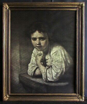 Vintage Lithograph after Rembrandt Girl at a Window by Edward Gross Co., N.Y.