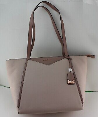 NEW AUTHENTIC MICHAEL KORS WHITNEY FAWN PINK LG TZ TOTE LEATHER HANDBAG WOMEN'S