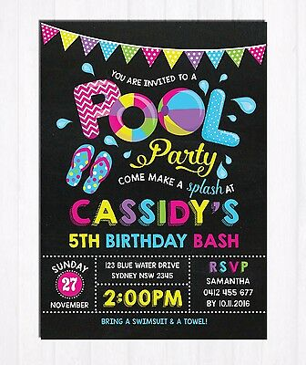 Girl Pool Party Invitation Birthday Party Invite Summer Beach Swimming Supplies