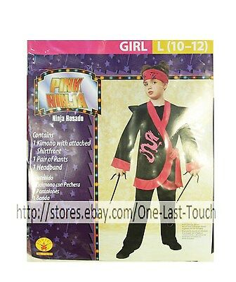 RUBIE'S* 3pc Costume PINK NINJA For Girl HALLOWEEN Large 10-12 PANTS+SHIRT+MORE - Girl Ninja Costume For Halloween