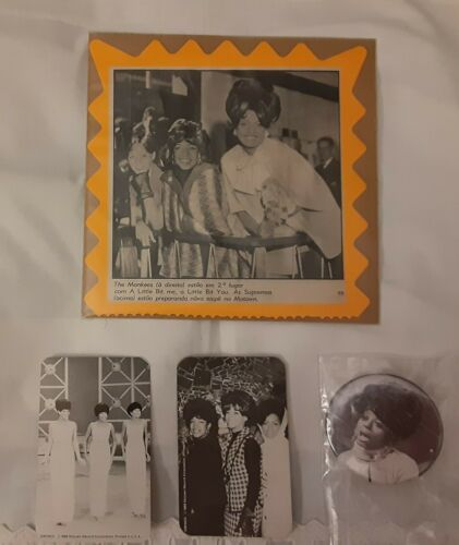 DIANA ROSS & THE SUPREMES LOT - 1986 MOTOWN B/W CARDS / BUTTON / PHOTO CLIPPING