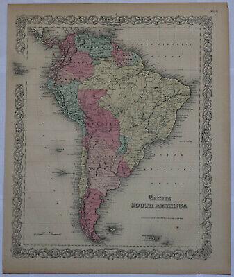 Original 1859 South America Colton map 17.3