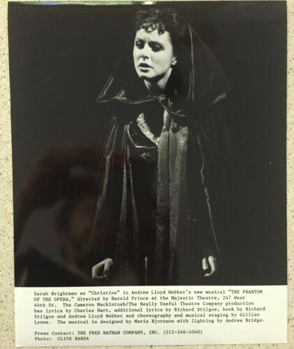 Sarah Brightman Christine Daae Glossy Photo B&W 8X10 The Phantom of the Opera
