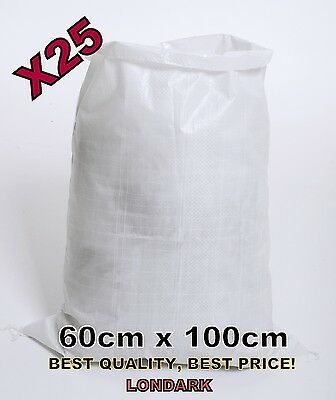 25 Woven POLYPROPYLENE Bag Sack 60 x 100cm Builders Heavy Duty PP Rubble XL